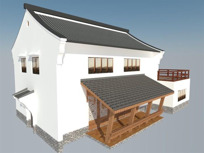 现代中式风格两层商业建筑设计su模型(1)