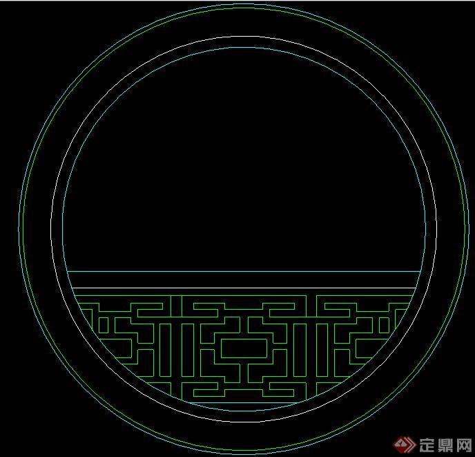 中式风格圆形窗户立面样式