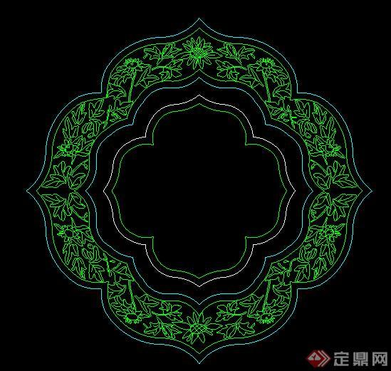 古典中式花瓣形漏窗的样式平面图