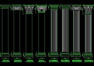 园林景观欧式景观柱构件图集