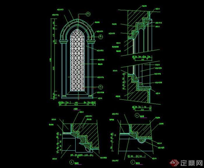 某欧式窗子设计cad施工图