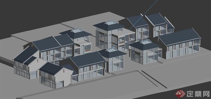 某新中式商业街建筑设计3dmax模型
