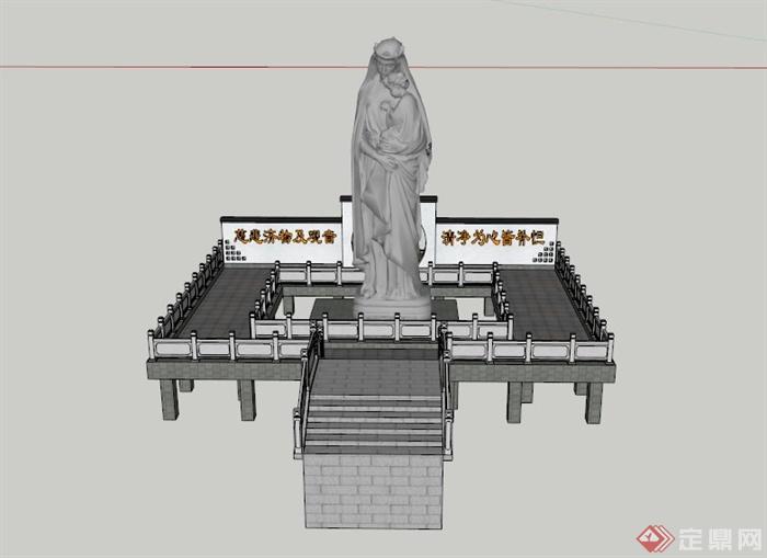 某古典中式雕塑设计su模型