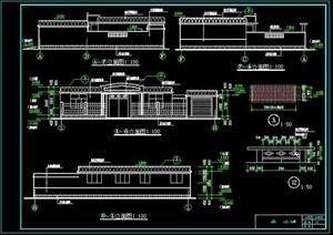 一层新农村自建舒适型平房带小院、车库房屋建筑施工图-120平6张CAD图