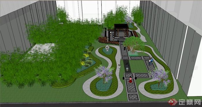 某新中式办公区庭院景观方案设计su模型(1)
