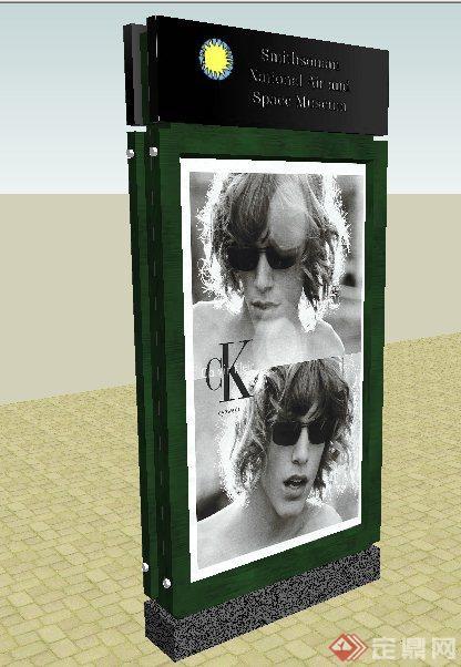 某现代风格广告标志牌su模型