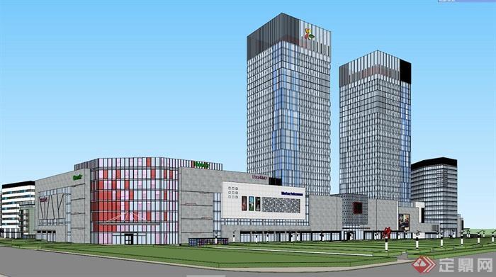 现代风格办公及商业综合体建筑设计su模型(含效果图)