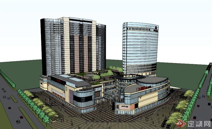 某现代高层商业综合体建筑设计su模型,该模型制作细致,附带屋顶花园