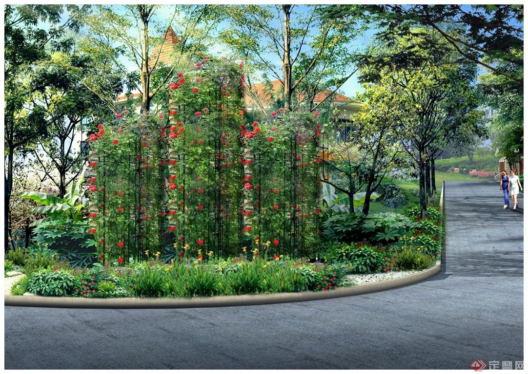 铁艺花柱景观小品效果图