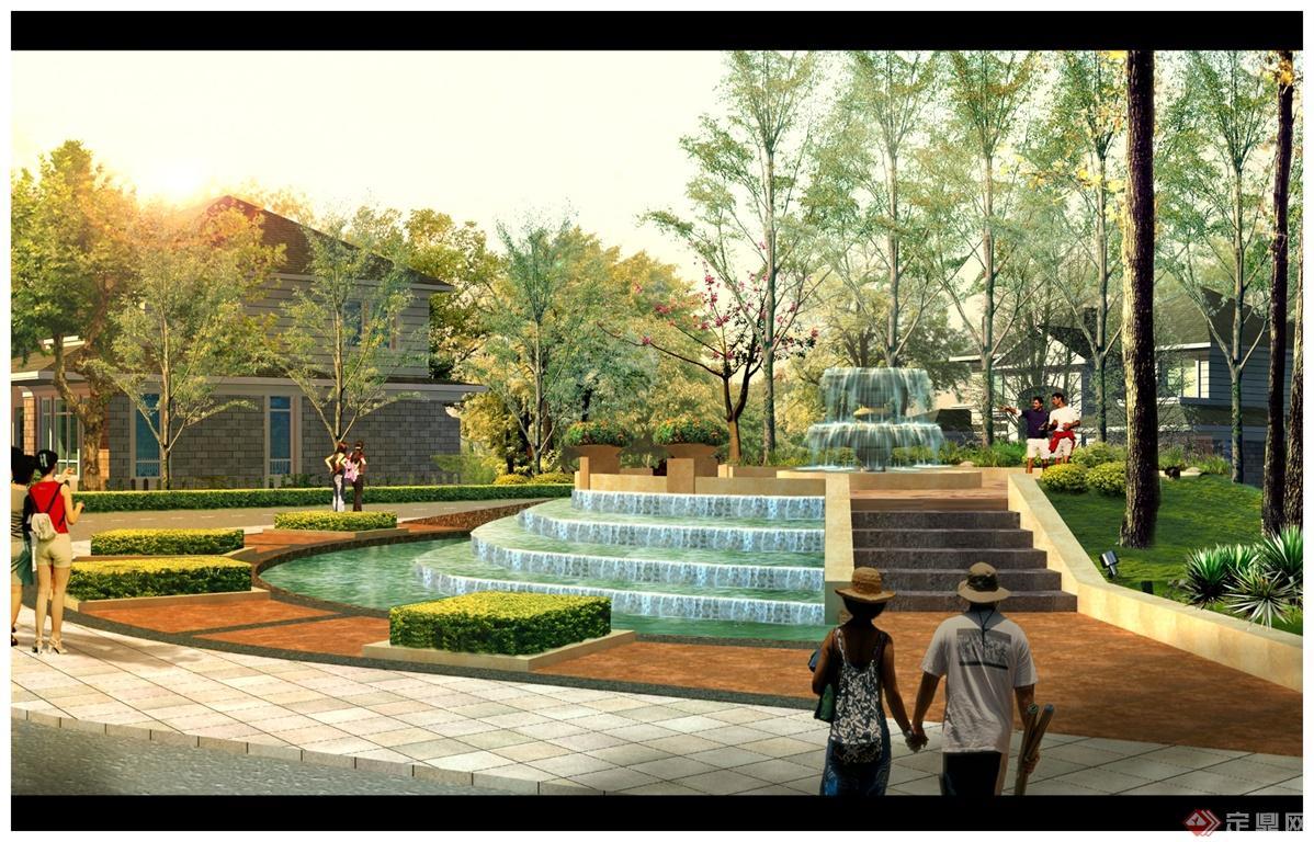 道路转角喷泉跌水景观效果图