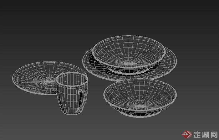 室内装饰盘子、杯子餐具3dmax模型(1)