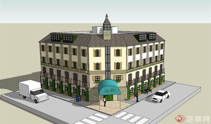 某欧式四层商业街建筑设计su模型