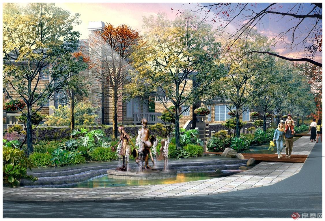 欧式人物喷泉雕塑景观效果图