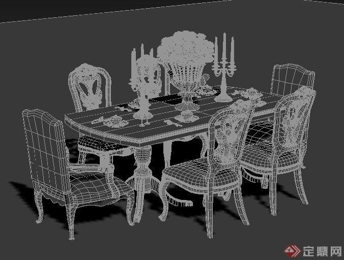欧式风格六人餐桌椅3dmax模型,包括餐桌椅、餐具、烛台、装饰,模型设计精美细致,附带有材质贴图,具有一定参考价值。