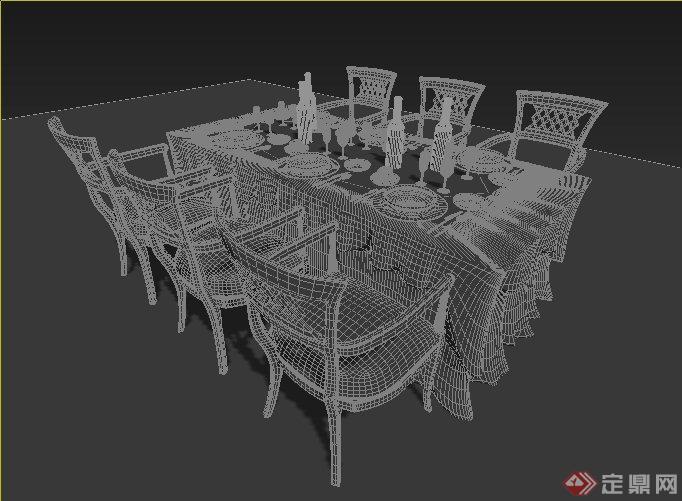 欧式风格六人餐桌椅设计3dmax模型