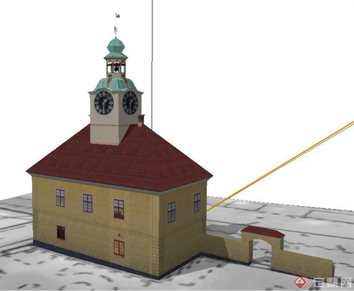 欧式风格多层民居住宅楼建筑设su模型