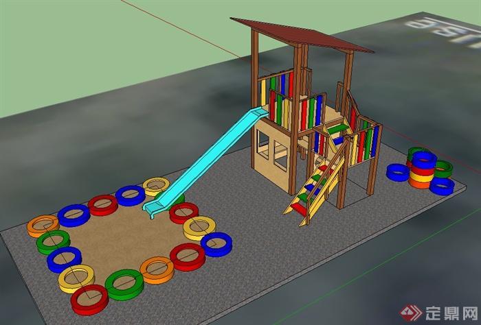 一组儿童游乐设施设计su模型(1)