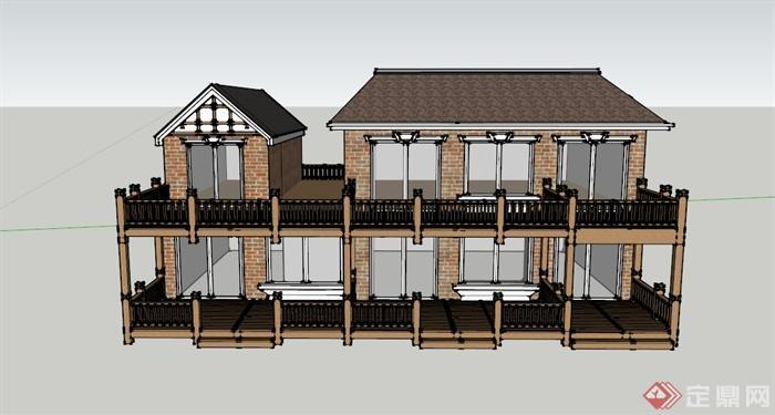 某两层新中式住宅建筑设计su模型(1)图片