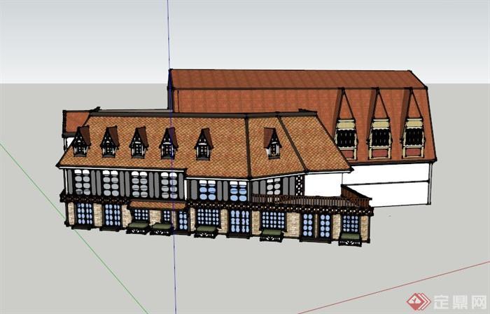 某欧式两层餐馆建筑设计su模型