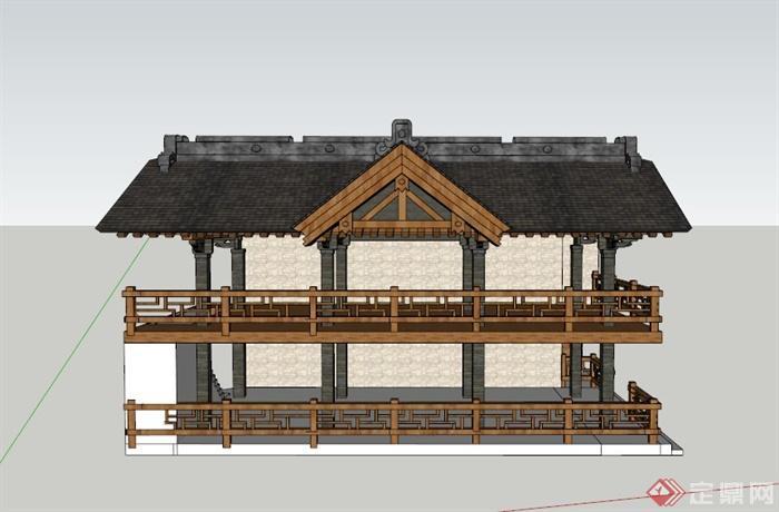 某两层欧式景观亭设计su模型