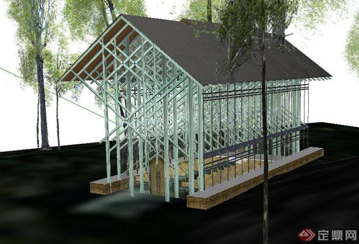 现代风格林间教堂建筑设计SU模型
