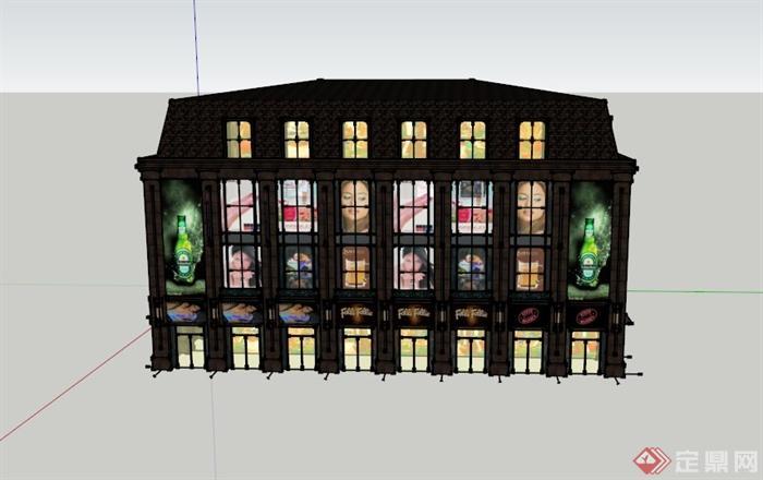 某四层欧式商业建筑设计su模型