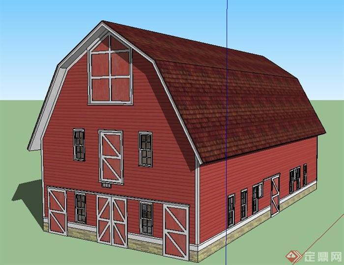 欧式风格三层民居建筑设计su模型