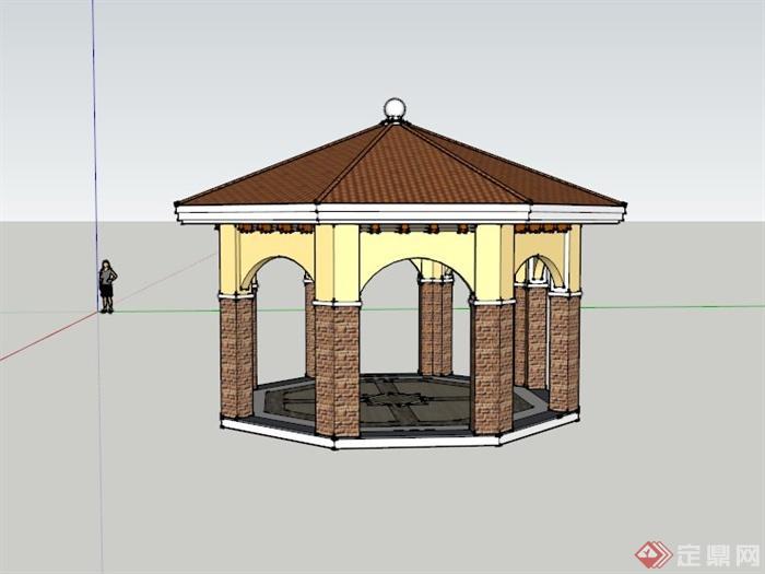 某欧式八角景观亭设计su模型