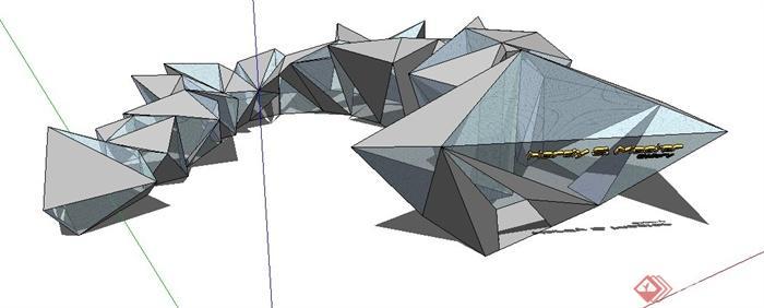 现代风格创意建筑设计su模型