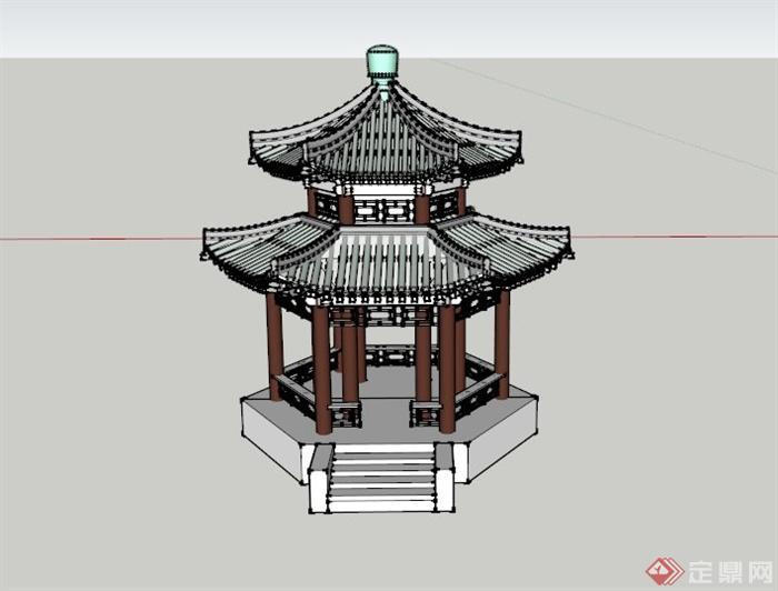 某古典中式双层亭子设计su模型(1)