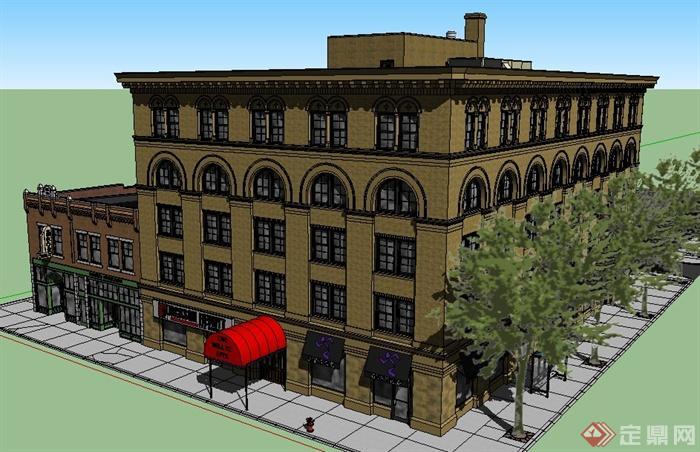 欧式风格五层商业住宅建筑设计su模型