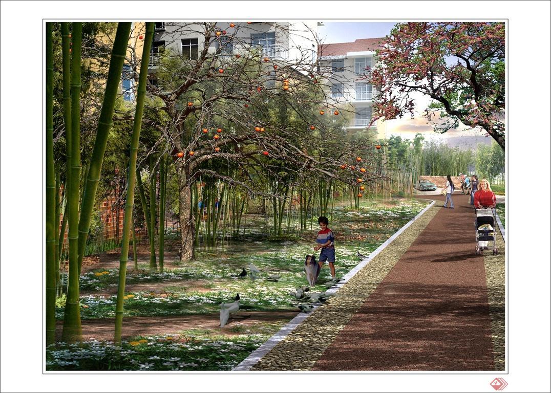 运用简洁现代的设计手法,将小区绿化面积不大的道路和围墙景观联系起来,使整个空间在景观上具有很好的延续性。