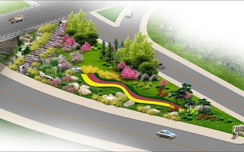 滨河大道匝道口景观绿化设计