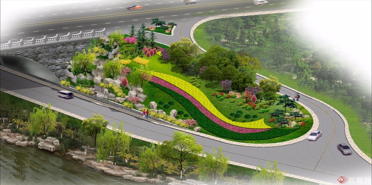 道路绿地设计平面图手绘