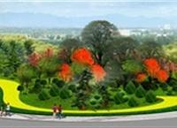 滨河大道匝道口景观绿化设计效果图3
