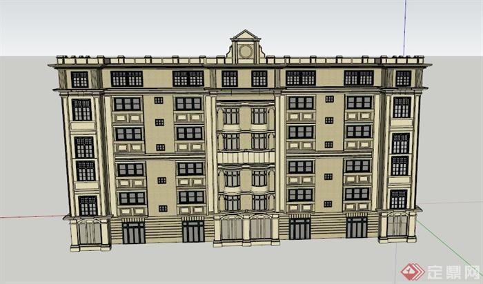 某欧式六层办公建筑设计su模型