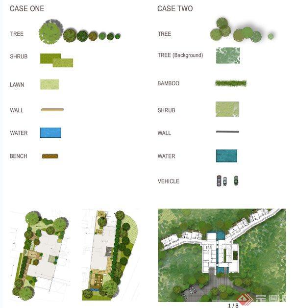 国外园林景观设计彩色平面以及立面植物psd素材