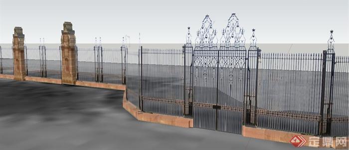 欧式风格铁艺大门及围墙su模型