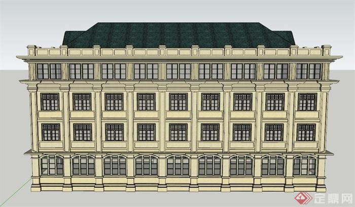 某欧式五层教学楼建筑设计su模型