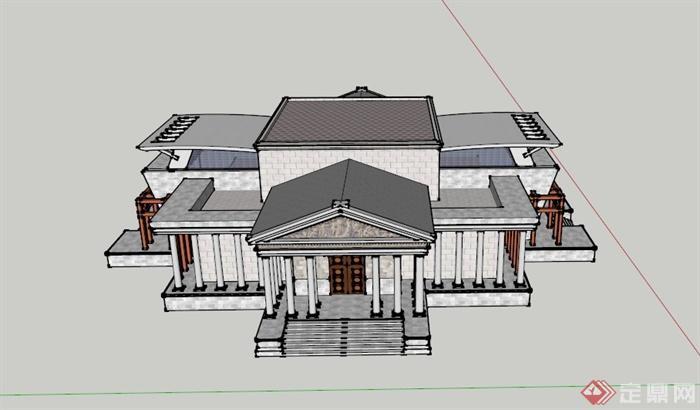 某欧式四面门楼展览建筑设计su模型