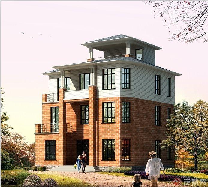 现代别墅三层半别墅建筑设计(含效果图)西安枫叶风格苑开盘图片