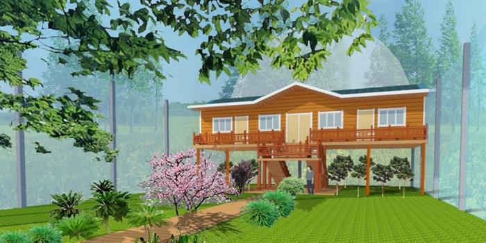 现代中式风格小木屋建筑设计su模型