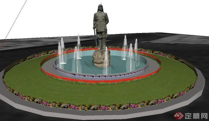 现代雕塑喷泉花坛景观su模型