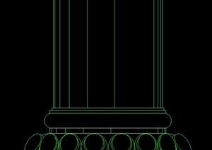 园林景观柱子基座立面图样