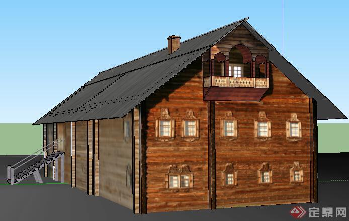 现代乡村三层住宅木屋建筑设计su模型