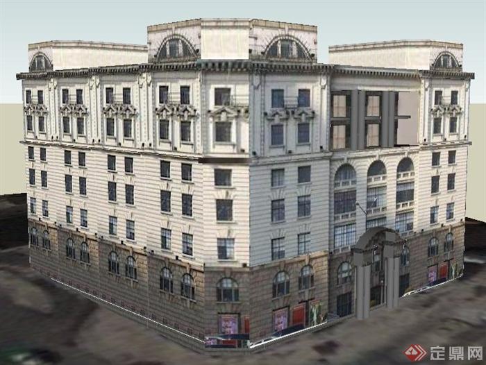 欧式风格七层商住楼建筑设计su模型