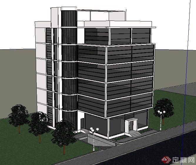 现代风格六层办公楼建筑设计su模型(1)