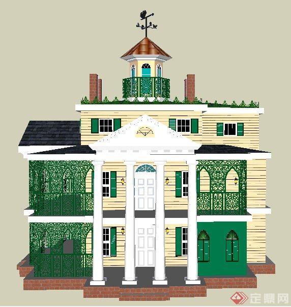 欧式风格别墅建筑设计su模型