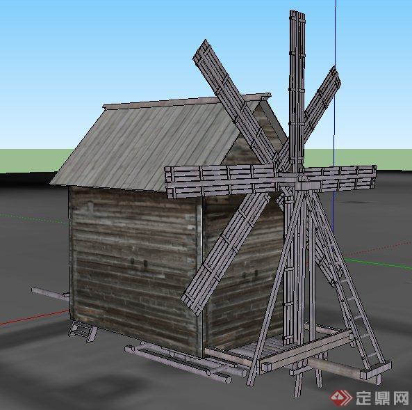某木制小屋及风车su模型