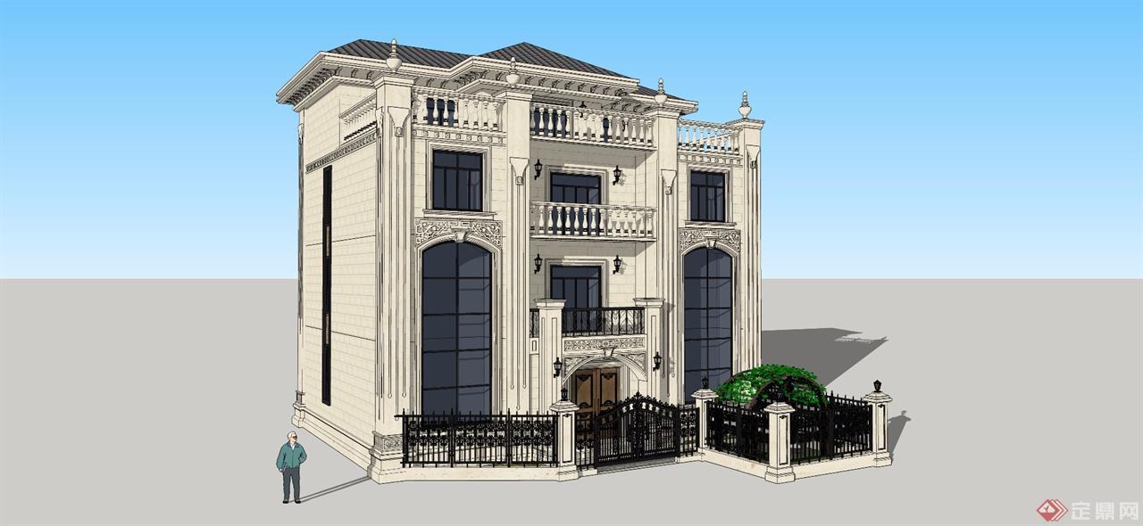 古典欧式别墅建筑效果图图片
